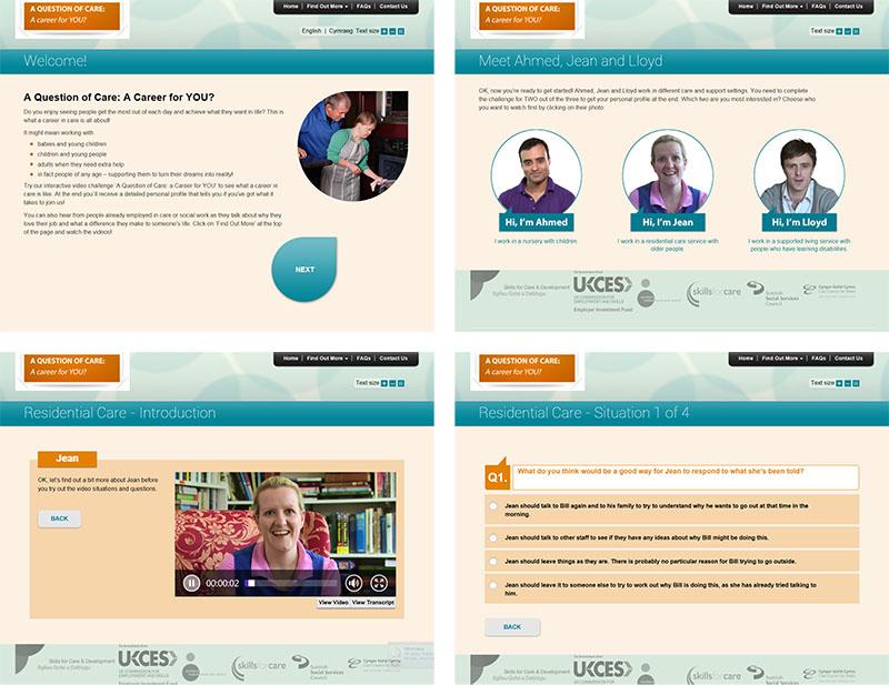 Screen shots of Bespoke Situational Judgement Tests